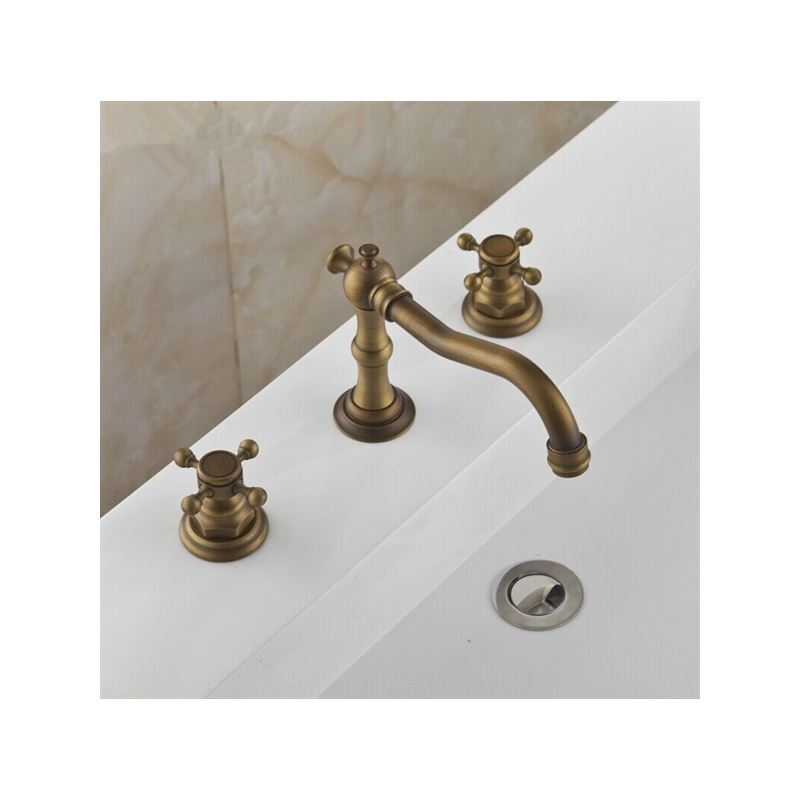 Antique sink faucet brass finish widespread bathroom sink for Bathroom faucet finishes