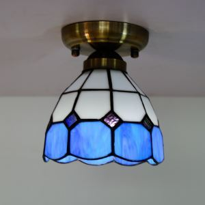 5 inch Shade Blue and White Mini Tiffany Ceiling Light