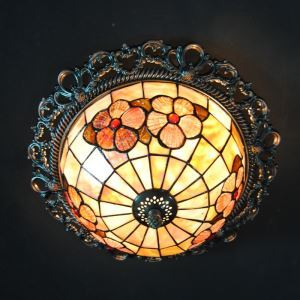 Retro Mini Tiffany Ceiling Plate with 3-lights