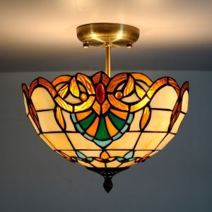 Baroque Tiffany Ceiling Light with 2-lights