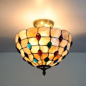Retro Shell Tiffany Ceiling Light with 2-lights