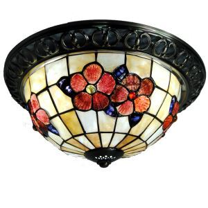 Retro Tiffany Ceiling Light Colorful Beads with 3-lights