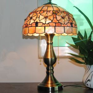 European Idyllic Retro Tiffany Table Light with 2-lights