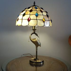 European Idyllic Retro Colorful Beads and Shell Tiffany Table Light with 2-lights