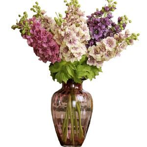 Beatiful Silk Flowers, Straight Glass Flower Vase Arrangement