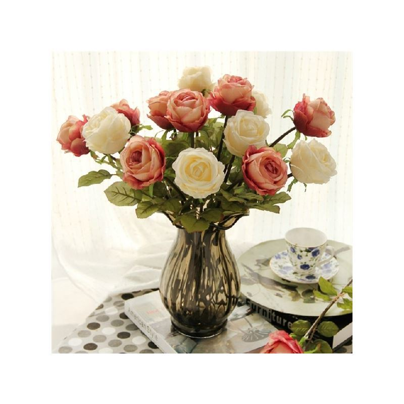 home decor floral arrangements rose silk flower