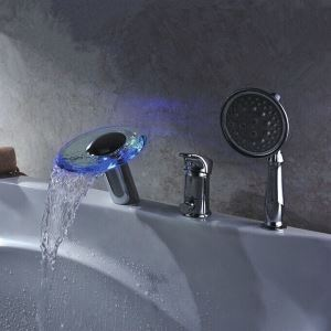 Hydroelectric Power LED Waterfall Two Handles Glass Tub Faucet With Hand Shower