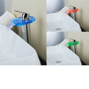 Fashionable LED Glass And Brass Waterfall Chrome Bathroom Faucet Mixer