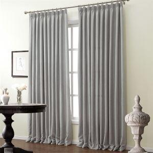 (One Panel)Modern Curtain Jacquard Light Grey Solid Pattern Faux Room Darkening Curtains ( ML9165-5 )