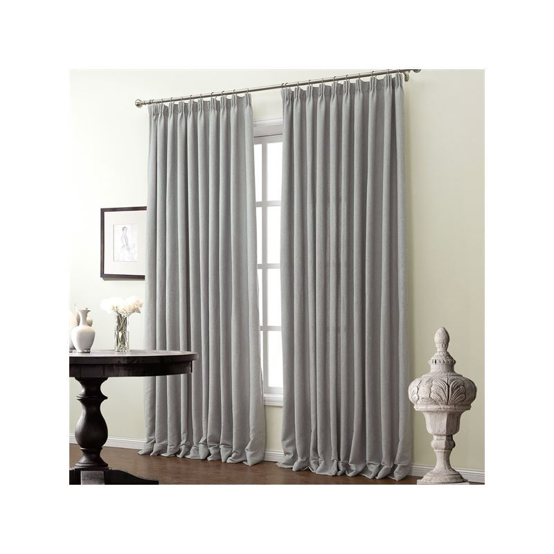 One Panel Modern Curtain Jacquard Light Grey Solid Pattern Faux Room Darkening Curtains