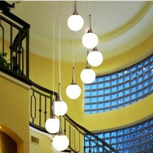 Modern Pendant Light with 8 Lights in White Globe Shade