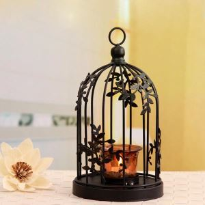 American Country Style Metal Bird Cage Candleholder