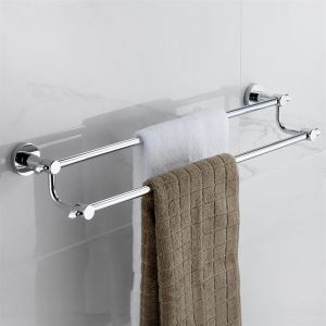 Contemporary Wall Mount Silver Chrome Finish Solid Brass Towel Bars