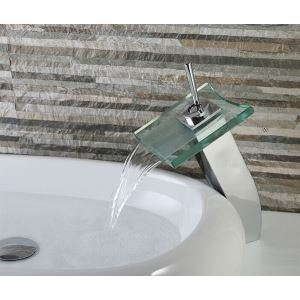 Contemporary Waterfall Bathroom Sink Faucet with Glass Spout (Tall)