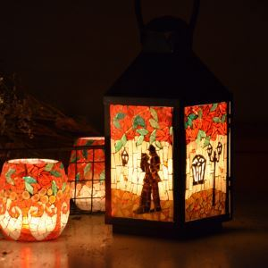 Mosaic Vintage Rose Pattern Candle Lanterns Small Night Light for Cafe & Valentine's Day Gifts