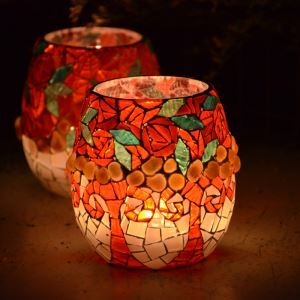 Mosaic European Multicolor Glass Candle Holders Small Candlestick Household Adornment Furnishing Articles (candle included)