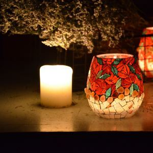 Mosaic Vintage Multicolor Glass Candle Holders Small Candlestick Household Adornment Furnishing Articles (candle included)