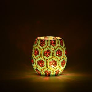 Mosaic Vintage Pineapple Pattern Handmade Multicolor Glass Candle Holders Household Adornment Furnishing Articles (candle included