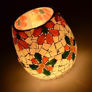 Vintage Mosaic Floral Pattern Handmade Multicolor Glass Candle Holders Household Adornment Furnishing Articles (candle included)