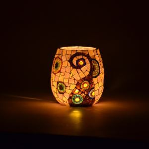 Vintage Mosaic Handmade Multicolor Glass Candle Holders Household Adornment Furnishing Articles (candle included)