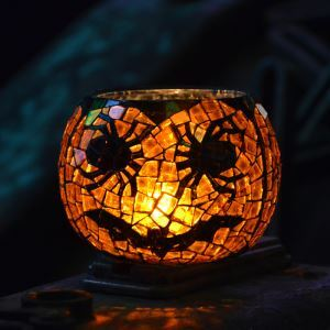 Vintage Pumpkin Pattern Mosaic Handmade Multicolor Glass Candle Holders Household Adornment Furnishing Articles (candle included)