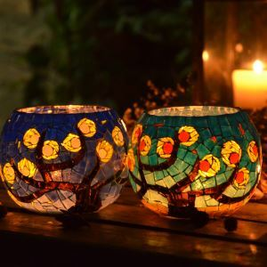 Vintage Lion Pattern Mosaic Handmade Multicolor Glass Candle Holders Household Adornment Furnishing Articles (candle included)