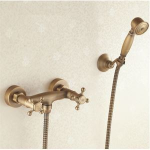 Wall Mount Antique Brass Shower Faucet Set