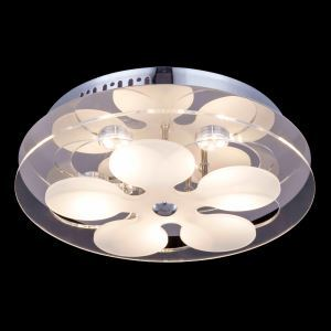 6-Light Modern Contemporary LED Glass Ceiling Light in Round Shape Energy Saving