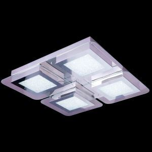 4-Light Modern Contemporary LED Crystal Ceiling Light in Square Shape Energy Saving