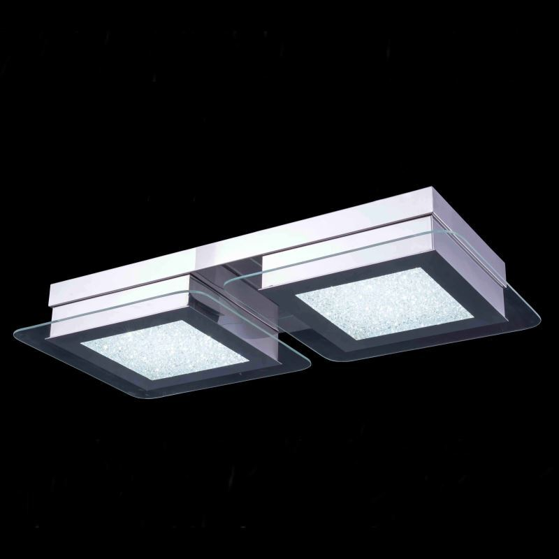 2-Light Modern Contemporary LED Crystal Ceiling Light in Square Shape