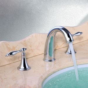 Two Handles Widespread Contemporary Chrome Finish Bathroom Sink Faucet