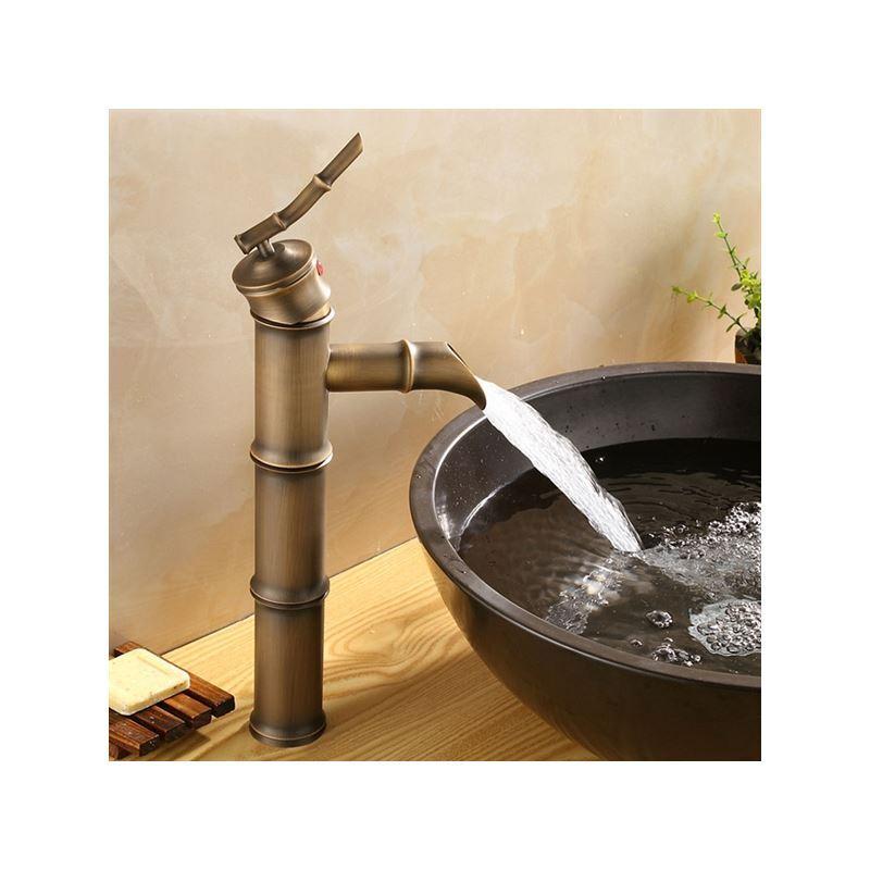 antique brass finish bathroom sink faucet bamboo shape design. Black Bedroom Furniture Sets. Home Design Ideas
