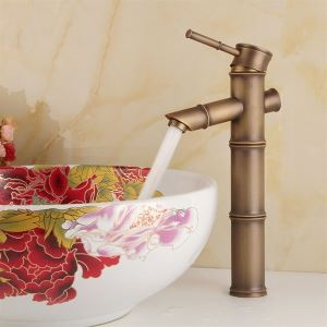 Polished Brass Bathroom Sink Faucet - Bamboo Shape Design