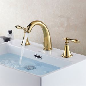 Ti-PVD Widespread Two Handles Bathroom Sink Faucet(QH00305-0599)