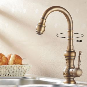 Brass Kitchen Faucet Antique Copper Swivel Kitchen Sink Tap