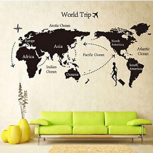 Global World Map Atlas Vinyl Wall Art Decal Wall Sticker