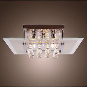 Modern Flush Mount Ceiling Light Crystal Living Room Lighting Fixture with 5 Lights