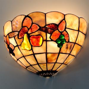 Tiffany Style Wall Light with Grape Pattern