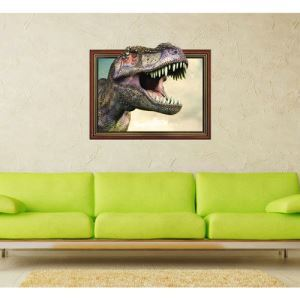 3D Wall Sticker Dinosaur Head Decorative Wall Covering PVC Washable 3D Wall Art