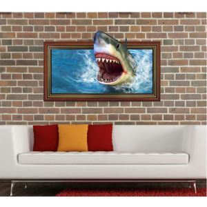 3D Wall Sticker Shark Decorative Wall Covering PVC Washable 3D Wall Art