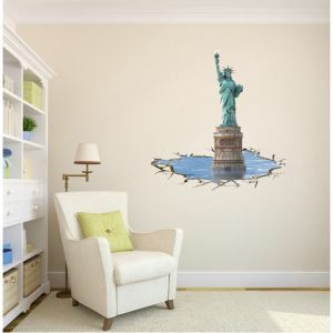 3D Wall Sticker Statue of Liberty Decorative Wall Covering PVC Washable 3D Wall Art