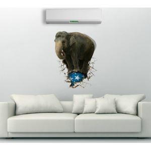 3D Wall Sticker Elephant Decorative Wall Covering PVC Washable 3D Wall Art