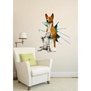 3D Wall Sticker Cat and Dog Decorative Wall Covering PVC Washable 3D Wall Art