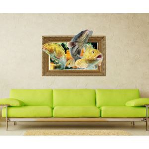 3D Wall Sticker Fish Decorative Wall Covering PVC Washable 3D Wall Art