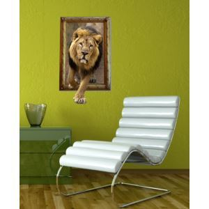 3D Wall Sticker Lion Decorative Wall Covering PVC Washable 3D Wall Art