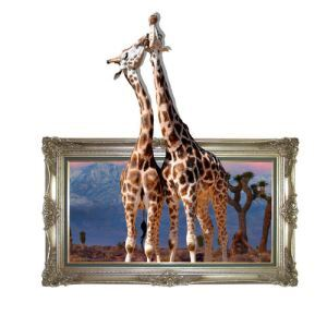3D Wall Sticker Giraffe Decorative Wall Covering PVC Washable 3D Wall Art