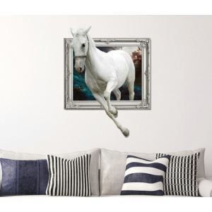 3D Wall Sticker Horse Decorative Wall Covering PVC Washable 3D Wall Art