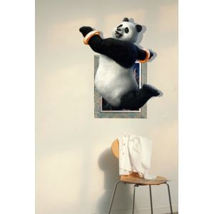 3D Wall Sticker Panda Decorative Wall Covering PVC Washable 3D Wall Art