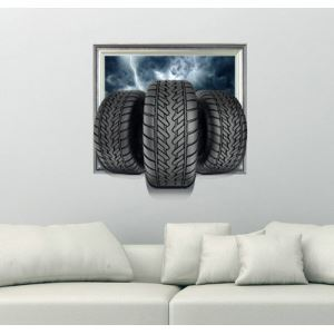 3D Wall Sticker Black Tyre Decorative Wall Covering PVC Washable 3D Wall Art