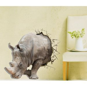 3D Wall Sticker Rhinoceros Horn Decorative Wall Covering PVC Washable 3D Wall Art